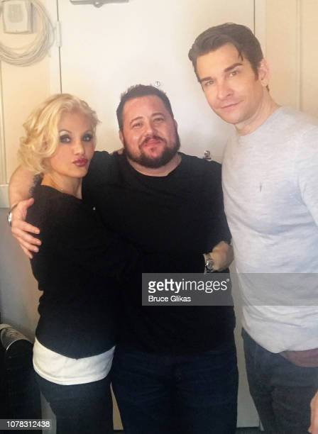 Orfeh Chaz Bono and Andy Karl pose backstage at the hit musical based on the film Pretty Woman The Musical on Broadway at The Nederlander Theatre on...