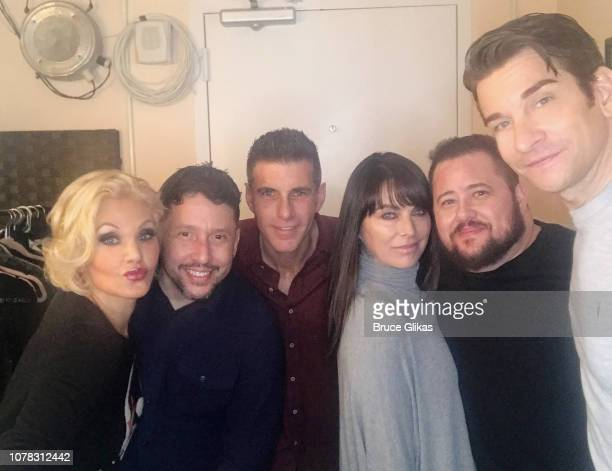 Orfeh Rick Ferrari Alex Ferrari Shara Blue boyfriend Chaz Bono and Andy Karl pose backstage at the hit musical based on the film 'Pretty Woman The...
