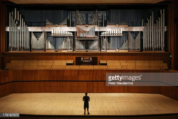 Organ builder Chris Varley looks up at the Royal Festival Hall organ at Southbank Centre on August 30 2013 in London England Recently unveiled...