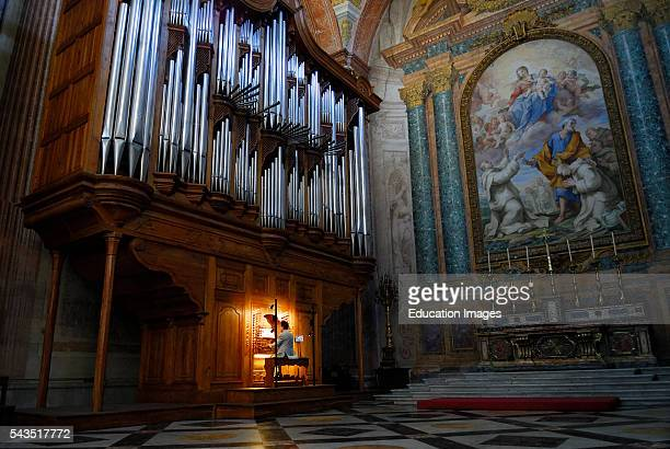 Organ player in Saint Mary of the Angels basilica Rome