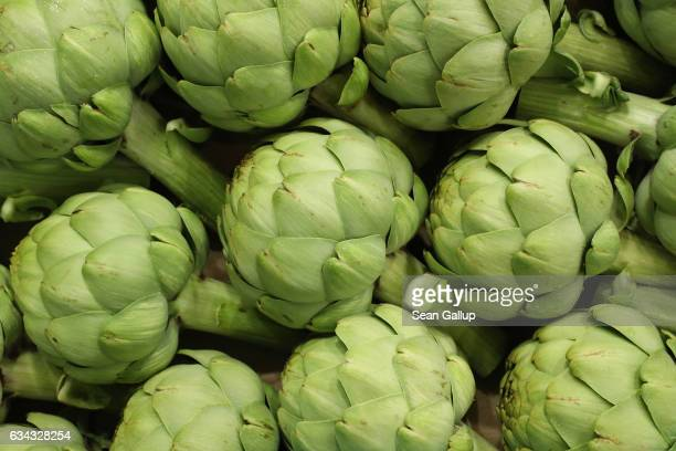 Organic artichokes lie on display at a Spanish producer's stand at the Fruit Logistica agricultural trade fair on February 8 2017 in Berlin Germany...