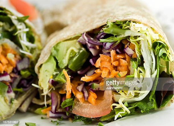 Organic Avocado and vegetables wrap sandwich