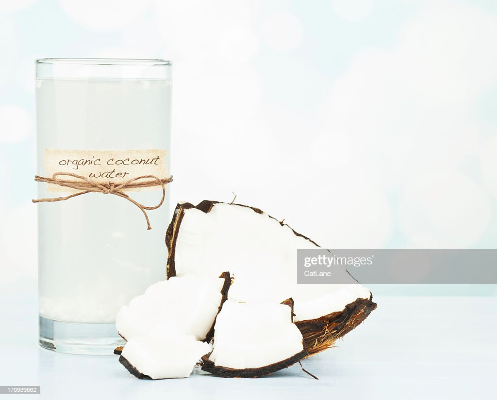 Organic Coconut Water with Pulp : Stock Photo