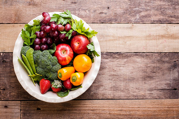Organic Colorful Fruits Vegetables On Rustic Wooden Table
