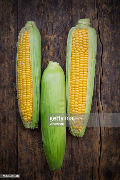 Organic corncob on wood, maize in bowl