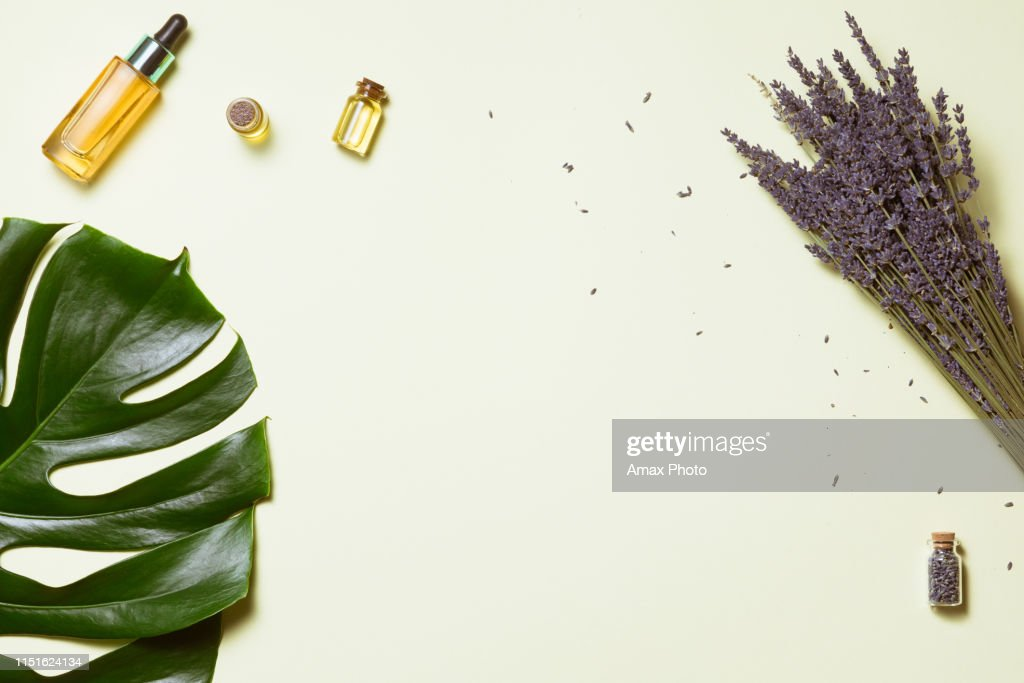 Organic cosmetic with lavender flowers and oil on white background with copy space, top view and flat lay : Stock Photo