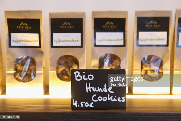 Organic dog cookies stand on display in bags for sale at Pets Deli a newlyopened upscale food store that caters specifically to dogs and cats on...