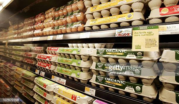 Organic eggs on the shelves 05 January 2006 at the Whole Foods Market in Willowbrook Illinois Whole Foods Market along with other organic food...