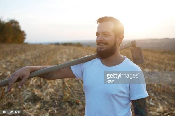 有機農場 - 耕す ストックフォトと画像