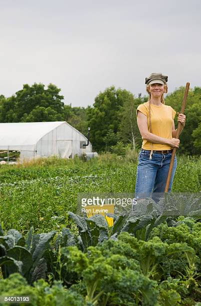 organic farm worker amongst a field of produce - get your hoe ready stock pictures, royalty-free photos & images