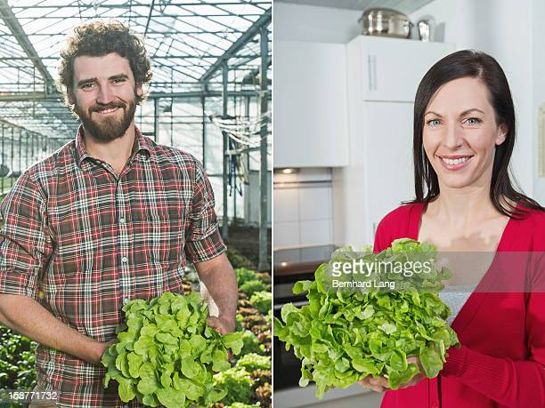 Organic farmer left, woman with salad right