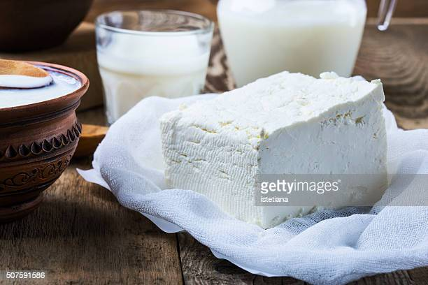 Organic farming cottage cheese on rustic wooden table