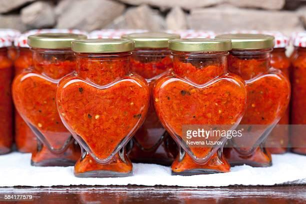 organic food - ajvar - sérvia imagens e fotografias de stock