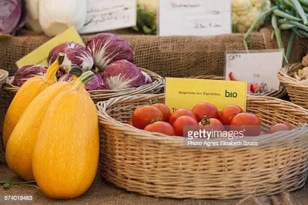 Organic food displayed in round wicker baskets