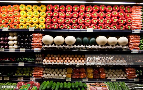 Organic fresh natural produce is displayed at a Whole Foods supermarket in Chevy Chase Maryland