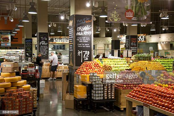 Organic fresh produce is displayed at a Whole Foods supermarket in Chevy Chase Maryland