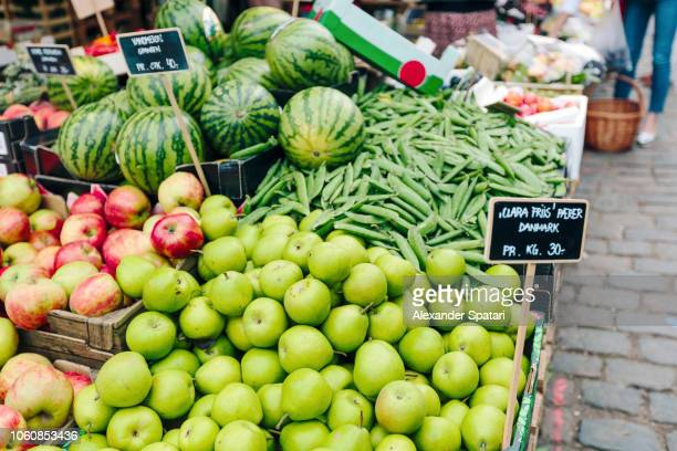 organic fruits and vegetables at the market stall at farmer's market - danish food stock pictures, royalty-free photos & images