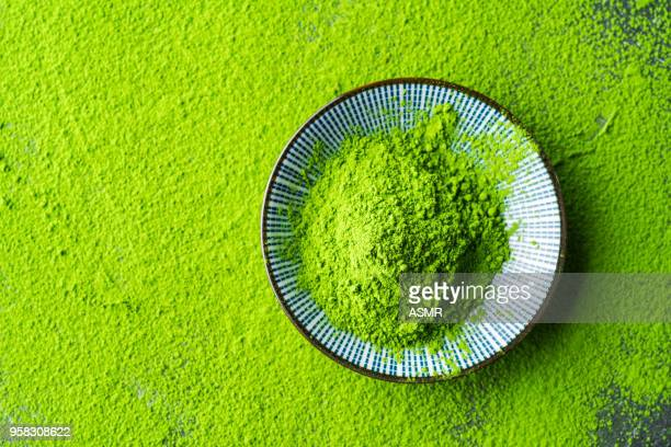 organic green matcha tea - bamboo plant stock photos and pictures