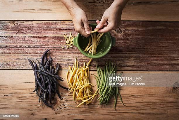 Bio, vert, jaune et noir haricot haricots, des légumes de prime fraîcheur