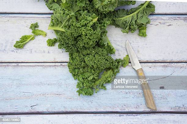 Organic kale on wood