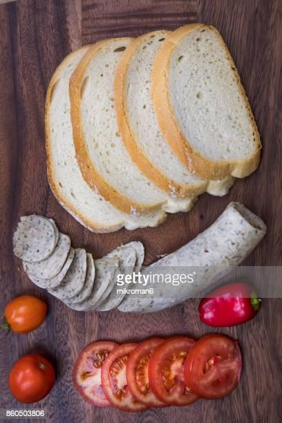 Organic liver sausage (leverworst, liver sausage, White Pudding, Liver Pate Sausage)