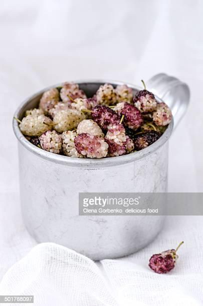 Organic mulberry in aluminum cup
