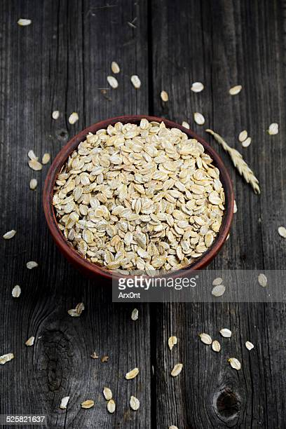 Organic oat flakes in a bowl