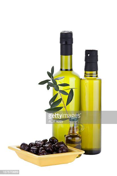 Organic Olive Oil and Different  Bottles ( Clipping Path )