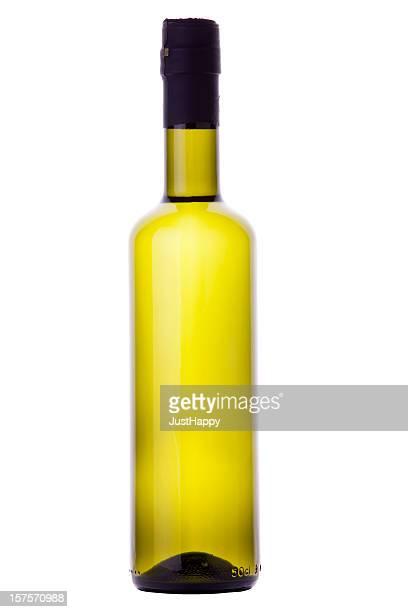 Bio de l'huile d'Olive ou bouteille de vin blanc avec un Tracé de détourage
