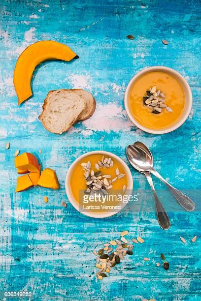 organic pumpkin soup in bowls