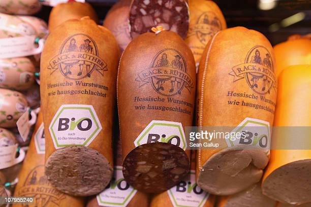 Organic sausage made from pork lies in a refrigerator display at a branch of German organic grocery store chain Bio Company on January 10 2011 in...