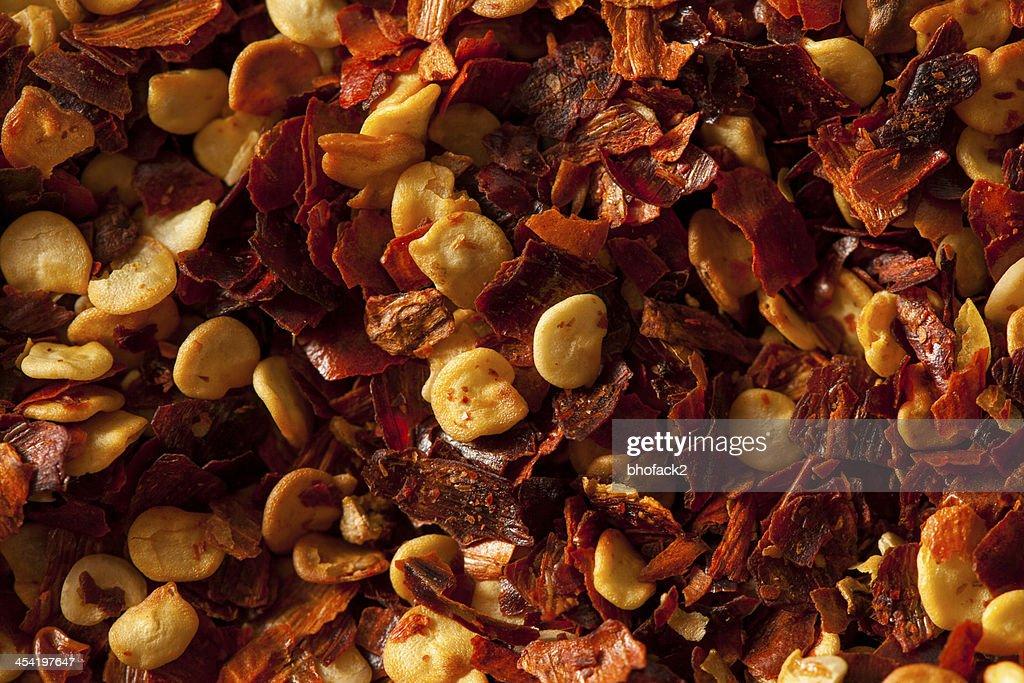 Orgánicos como pimiento rojo Flakes (Copos de maíz) : Foto de stock