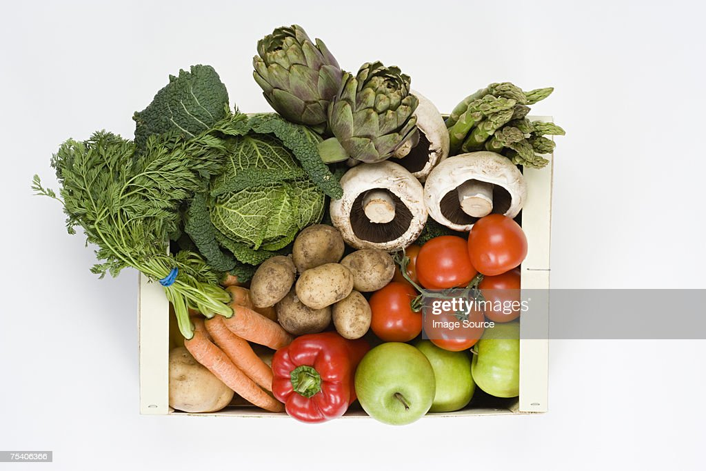 Organic vegetable and fruit box : Stock Photo