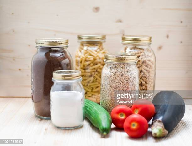 Organic vegetables and glasses of organic food from shop without packages