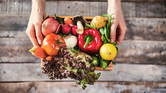 Organic vegetables healthy nutrition concept on wooden background 933093612