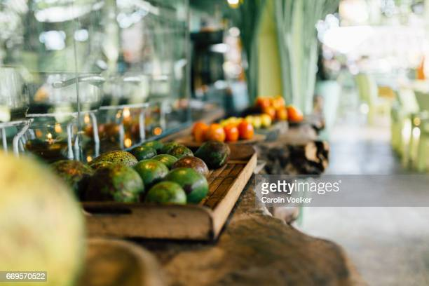 Organic vegetarian buffet at restaurant in Bali