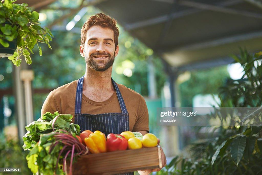Productos cultivados orgánicamente sin los pesticidas : Foto de stock
