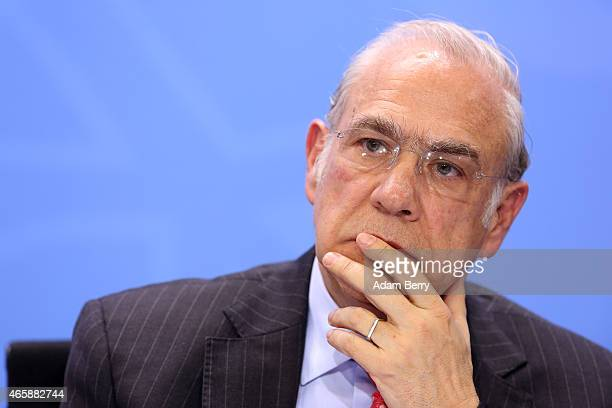 Organisation for Economic Cooperation and Development SecretaryGeneral Angel Gurria attends a press conference at the German federal Chancellery on...