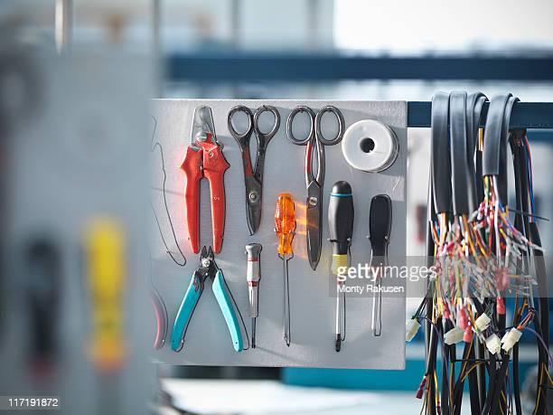 organised tools and cables - monty rakusen stock pictures, royalty-free photos & images