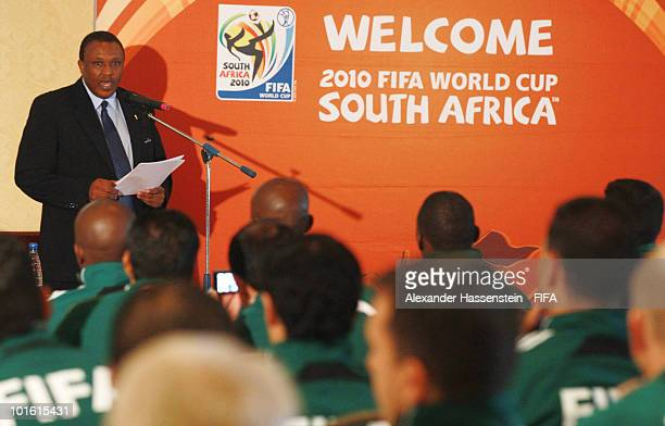 Organising chairman Irvin Khoza speaks to the referees at the welcome and opening reception for the 2010 FIFA World Cup South Africa referees at the...
