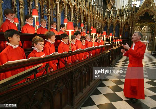 Organist and Master of the Choristers James O'Donnell conducts April 15 the Choir of Westminster Abbey who will sing at the Royal Wedding Britain's...