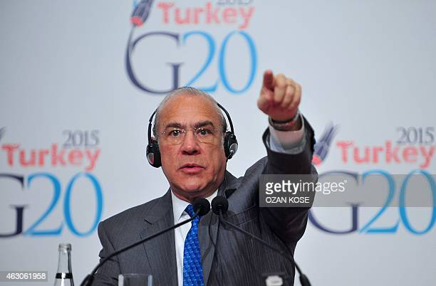 Organization for Economic Cooperation and Development Secretary General Angel Gurria gestures during a press conference on the steps of the G20...