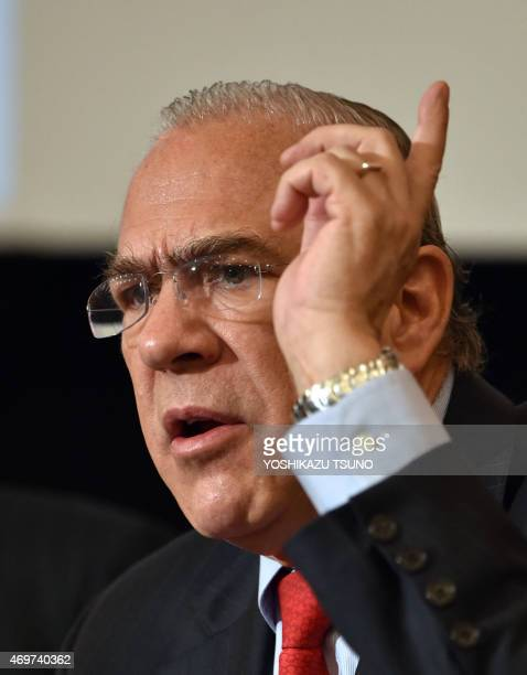 Organization for Economic Cooperation and Development Secretary General Angel Gurria announces the economic survey on Japan at a press conference in...