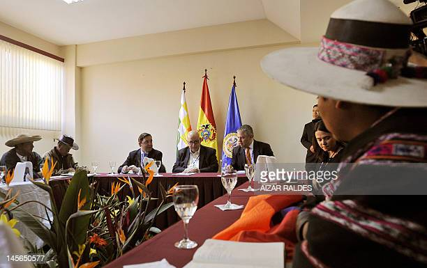 Organization of American States Secretary General, Jose Miguel Insulza , speaks to indigenous people from the Bolivian Amazons in Tiquipaya, Bolivia...