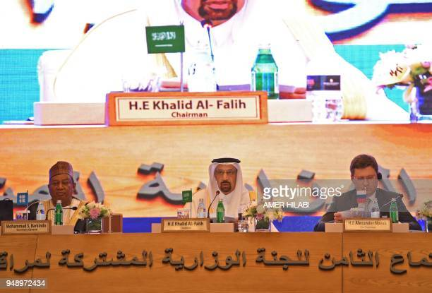 Organization of Petroleum Exporting Countries secretary general Mohammed Barkindo Saudi Energy Minister Khaled alFaleh and Russian Energy Minister...