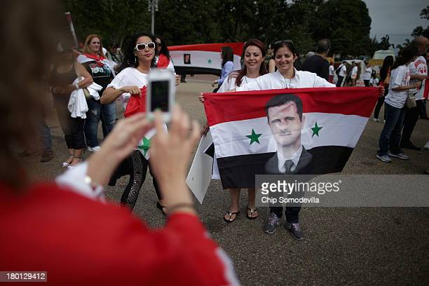 Organized by the Syrian American Forum demonstrators protest against a possible military attack on Syria by the United States outside the White House...