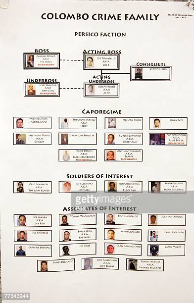 Organized crime flow charts are displayed of the Colombo Crime Family Persico Faction which was presented into evidence at the trial of Roy Lindley...