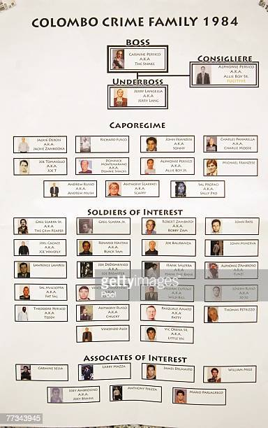 Organized crime flow charts of the Colombo Crime Family in 1984 which was presented into evidence at the trial of Roy Lindley DeVecchio October 15...