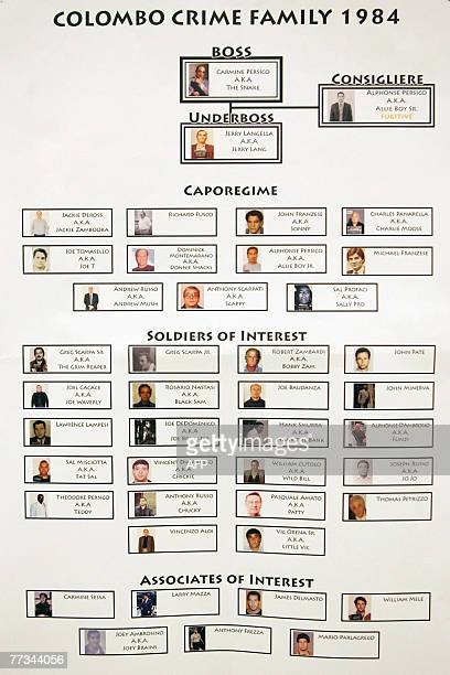 Organized crime flow charts of the Colombo Crime Family in 1984 which was presented into evidence at the trial of Roy Lindley DeVecchio 15 October...