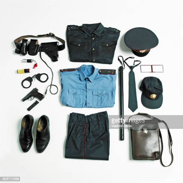 Organized police uniform and equipment